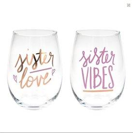Sister Vibes, Sister Love Stemless Wine Glass Set
