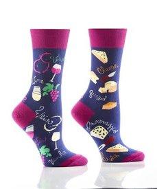 Yo Sox - Wine & Cheese - Ladies Crew Socks