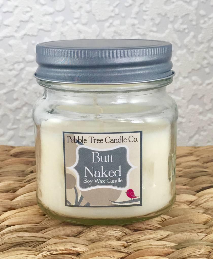 Pebble Tree Candle Co. Butt Naked - Soy Wax Candle - 8oz Mason
