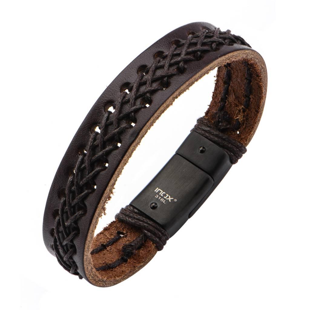 Brown Leather Bracelet with Stitch - Inox - BRLT21