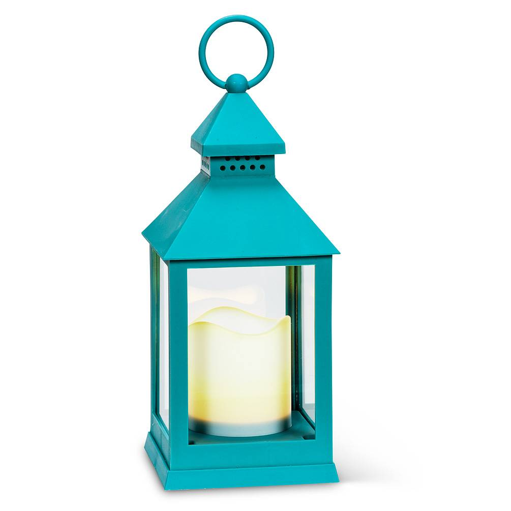 Home Decor Outdoor - Indoor Flameless Candle Lantern Turquoise