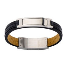 Inox Stainless Steel Jewelry Black Leather Bracelet with Stainless Steel ID - BR19512