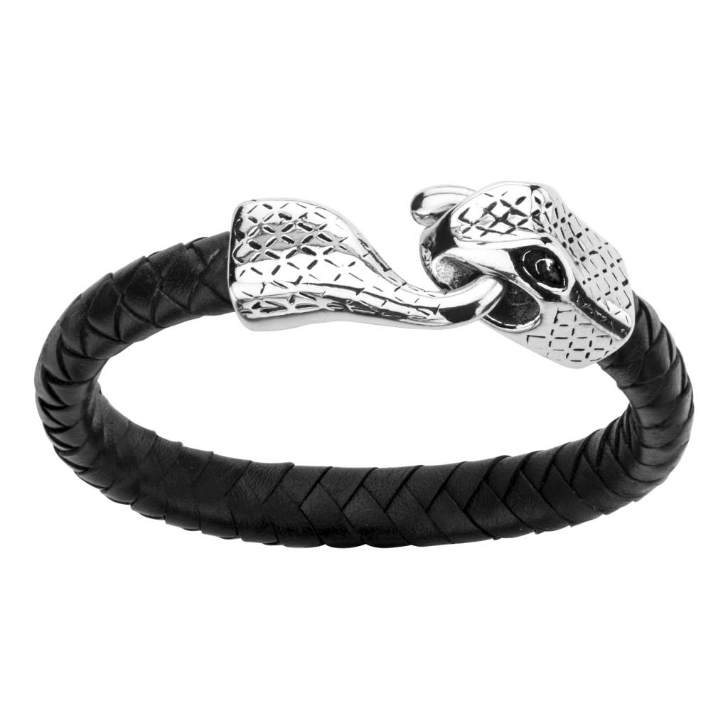 Inox Stainless Steel Jewelry Black Leather Braided Bracelet with Snake Head - BR0460