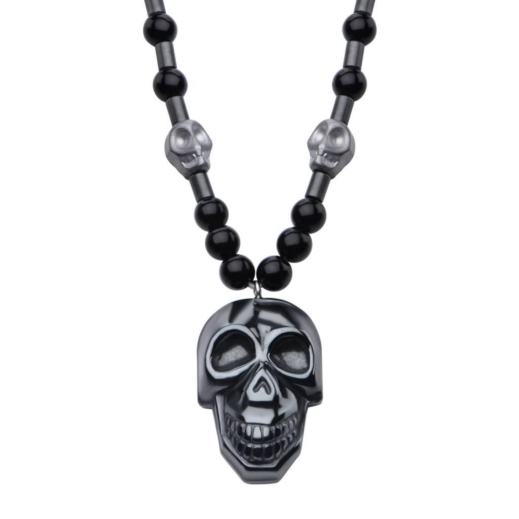 Inox Stainless Steel Jewelry Stainless Steel & Hematite Skull Necklace - SSPRA135NK1