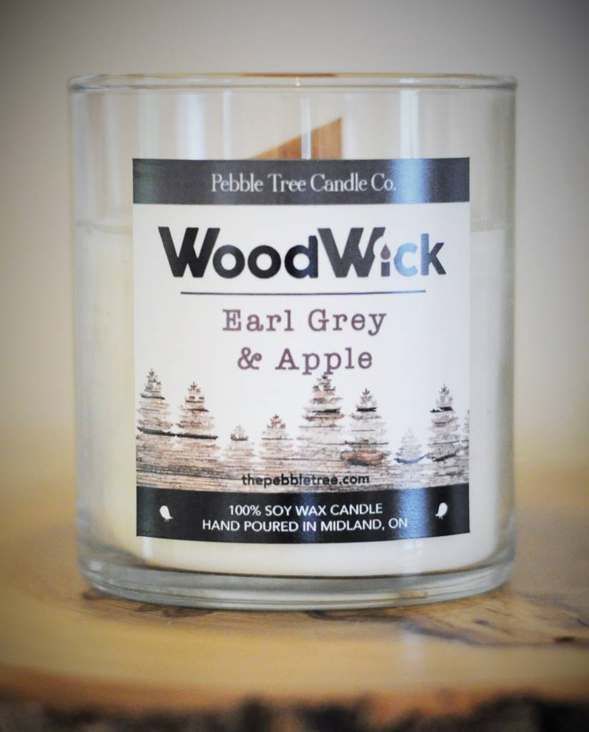 Pebble Tree Candle Co. Earl Grey & Apple Wood Wick - Soy Wax Candle