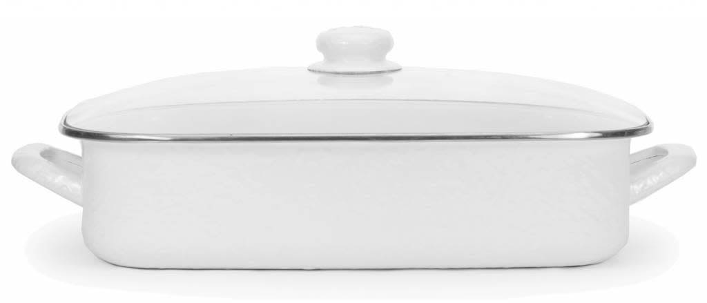 Enamelware 16 x 12/½ x 4 inch deep Lasagna Pan Grey Swirl with glass lid holds 10/½ quarts
