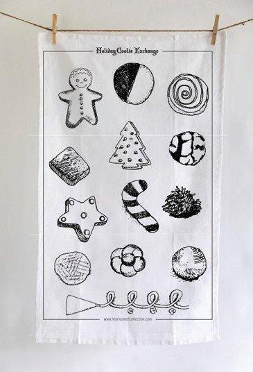 Heirloomed Holiday Cookie Exchange Tea Towel, White Linen