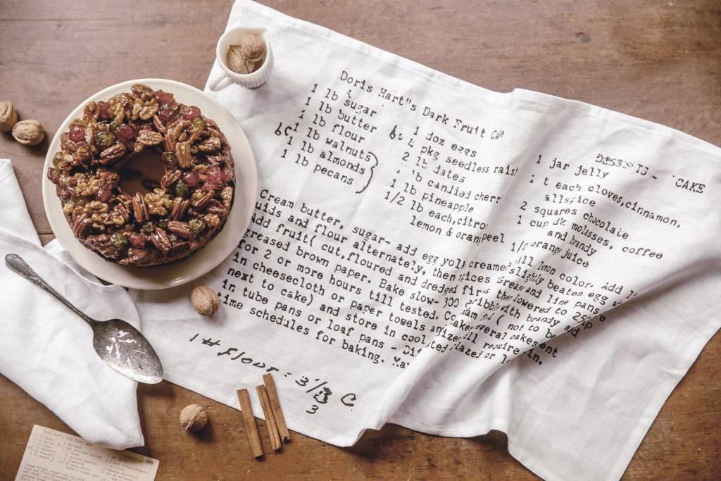 Heirloomed Tea Towel, Fruitcake, White Linen