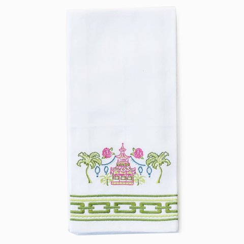 Pagodas & Palms Embroidered Towels - Set of 2