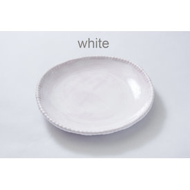 Oval Bead Serving Bowl, White