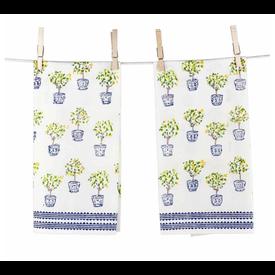 Lemon Topiary Tea Towels, Set of 2
