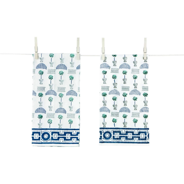 Topiary Jade & Indigo Tea Towels, Set of 2