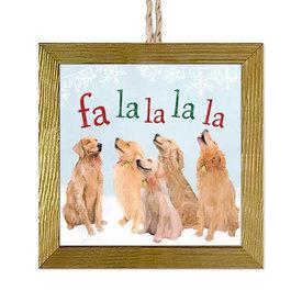 5 Goldens Singing Wood Ornament