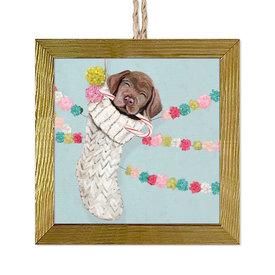 Chocolate Lab Pup Ornament