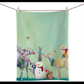 Snowman & Wondrous Animals Tea Towel