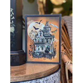 Haunted House Mini Framed Canvas