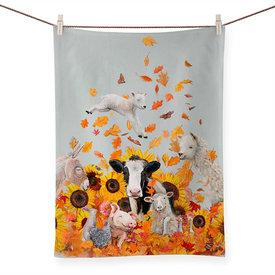 Farm Leaf Pile Tea Towel