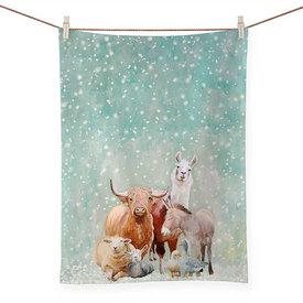 Winter Farm Tea Towel