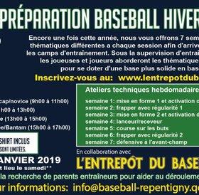 Camp de préparation baseball Repentigny hivernal 2019 - L'Entrepôt du baseball