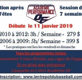 Academie hivernal de baseball performance EDB-On Field 2006 à 2009 - Periode apres-Noel
