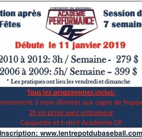 Academie hivernal de baseball performance EDB-On Field 2006 à 2009 - Periode apres-Noel