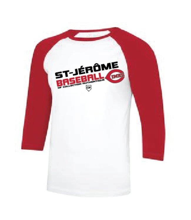 Authentic t-shirt company Chandail Authentic undershirt dry fit manches 3/4 rouge avec logo Cimes en serigraphie OFM-CI-RO