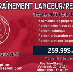 Programme Camp d'entrainement de lanceur/receveur 2019 pee-wee/bantam (2004 à 2007)