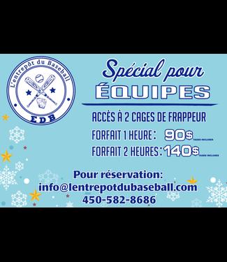 Spécial hivernal aux équipes - location 1h (2 cages pour 90$)