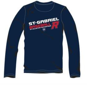 Authentic t-shirt company Chandails dry fit bleu marine à manches longues avec logo Royaux en serigraphie