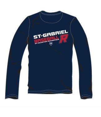 Authentic t-shirt company Chandails dry fit bleu marine à manches longues avec logo Royaux en serigraphie - OFL-RO-NY