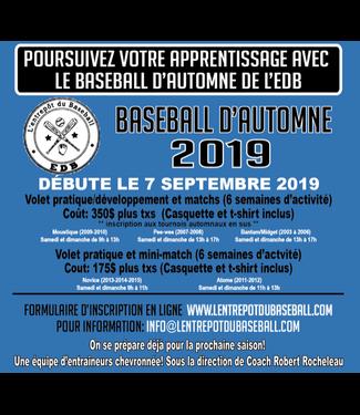 Programmes d'encadrement - Baseball d'Automne 2019