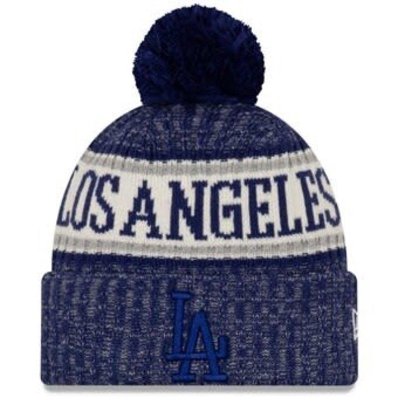 New Era New Era Men's Los Angeles Dodgers Primary Logo Sport Cuffed Knit Hat with Pom