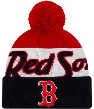 New Era New Era Men's Boston Red Sox Script Knit Hat whit pom