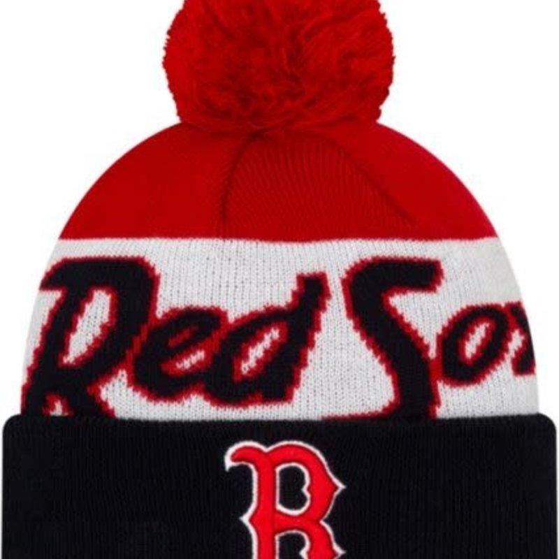 New Era New Era Men's Boston Red Sox Script Knit Hat whit pom