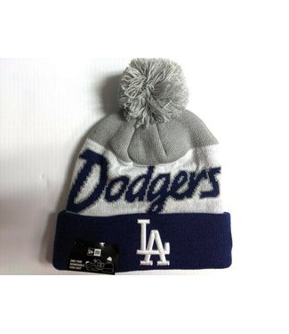 New Era New Era Men's Los Angeles Script Knit Hat whit pom