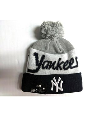 New Era New Era Men's New York Script Knit Hat whit pom
