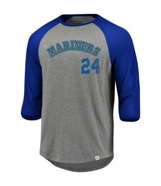 Majestic Majestic 3/4 sleeve raglan crew neck tee So much extra gray/costal Mariners Griffey