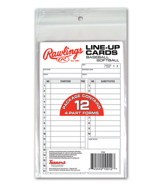 Rawlings Rawlings System-17 Lineup cards refillpack baseball or softball 17LU