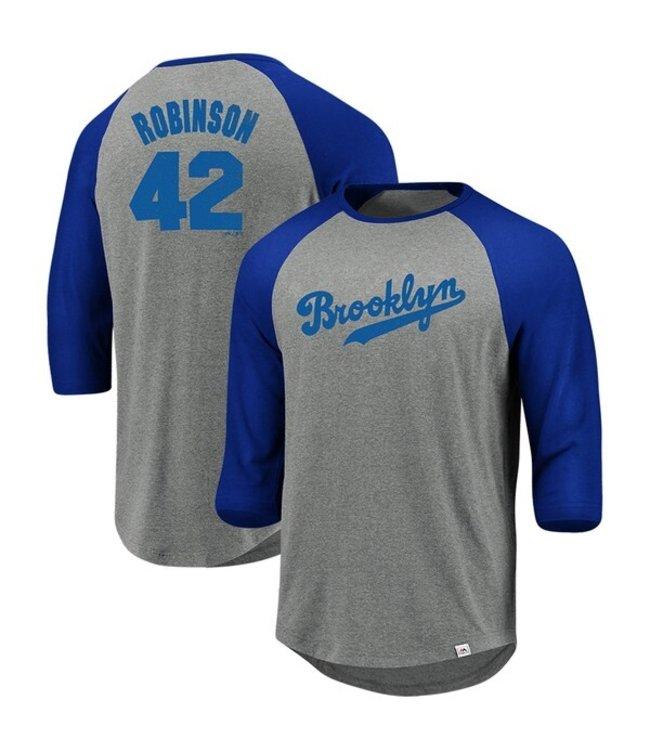 Majestic Majestic 3/4 sleeve raglan crew neck tee So much extra gray/deep Brooklyn Dodgers Robinson