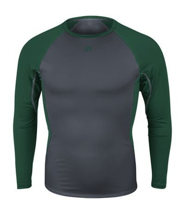 Majestic Majestic Youth Premier Warrior Fitted Long Sleeve Baselayer youth - Granite/Dark Green