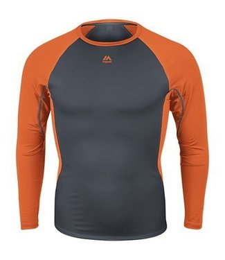 Majestic Majestic Mens Premier Warrior Fitted Long Sleeve Baselayer - Granite/Orange