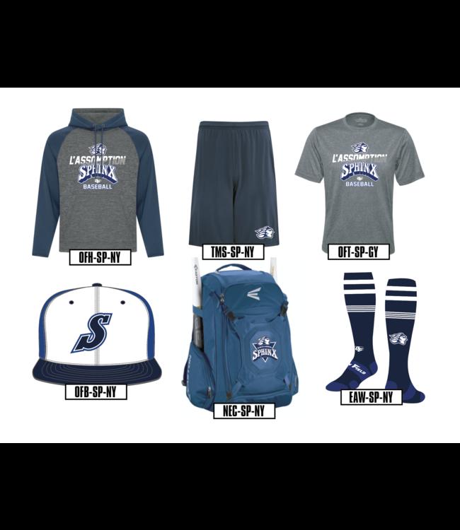 Authentic t-shirt company Kangourou On Field Authentic charcoal et bleu marine  avec logo Sphinx baseball en sérigraphie - OFH-SP-NY