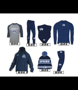 Authentic t-shirt company Chandail OF Authentic manches 3/4 Sphinx du College de l'Assomption Baseball gris charcoal et bleu marine en sérigraphie - OFU-SP-NY