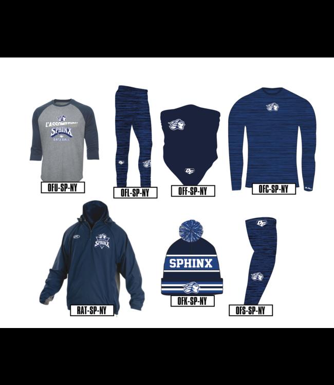 On Field Manteau On Field Avant-Match bleu marine à manches longues avec logo Sphinx College de l'Assomption brodé - AMT-SP-NY