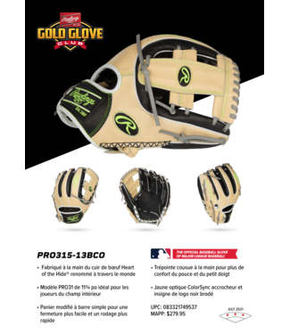 Rawlings Rawlings Heart of the Hide 2021 July Glove of the Month PRO315-13BCO 11,75'' RHT