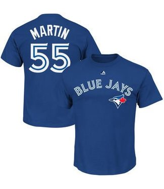 Majestic Majestic player name and number royal t-shirt Russell Martin
