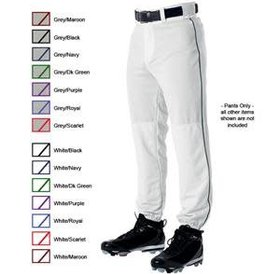 Alleson Alleson Pant 3/4 adult white with piping
