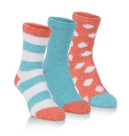 World's Softest Socks Women's Spa Socks Three Pack: Coral & Blue Combo