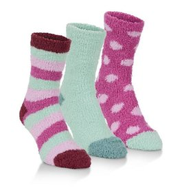 World's Softest Socks Women's Spa Socks Three Pack: Magenta & Mint Combo