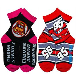 Disney Kids Cars Crew Socks 2 Pack Black & Grey